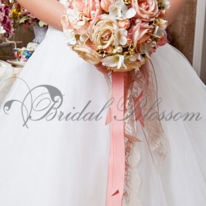 131 Pink silk bridal bouquet