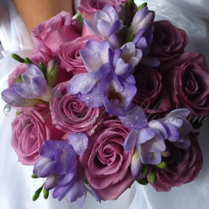 157Purple bridal bouquet