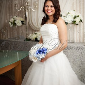 166 Blue and white bridal bouquet